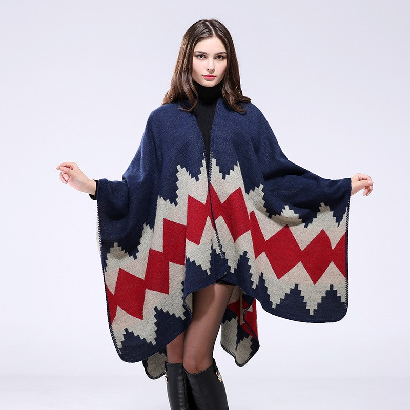 The latest popular acrylic winter lady warm poncho