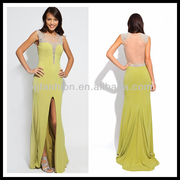 Newest Design Sleeveless Beaded Front Split She Fashions Prom Dresses