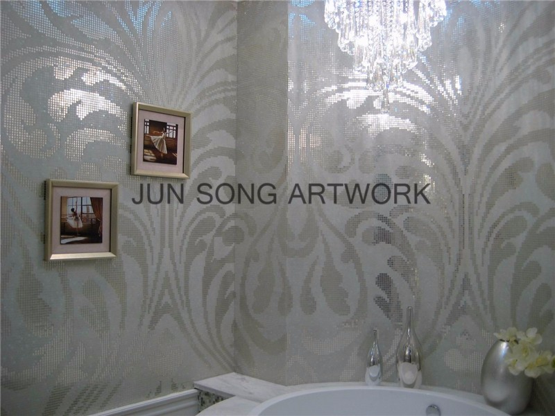 MP-DA01-B Chinese Premium Mosaic Wall Tile Silver Leaf Glass Mosaic Bathroom Tiles Mosaic