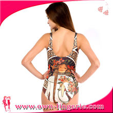 Sexy vintage lingerie one piece printed women swimsuit underwear lingeries