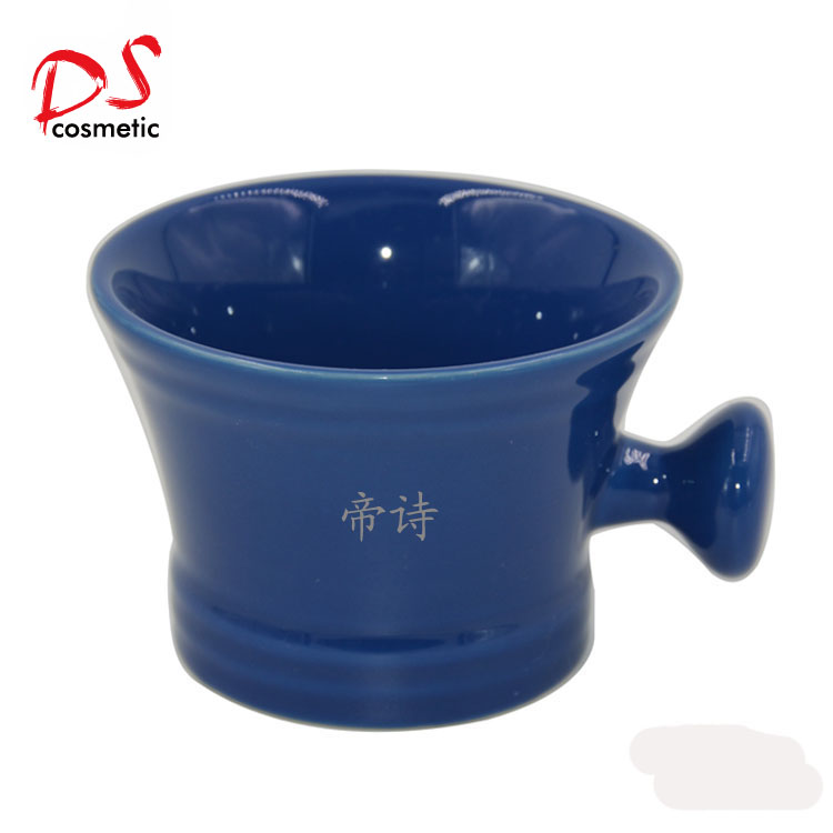 Factory Wholesale Custom blue shaving bowl of Ceramic With Handle