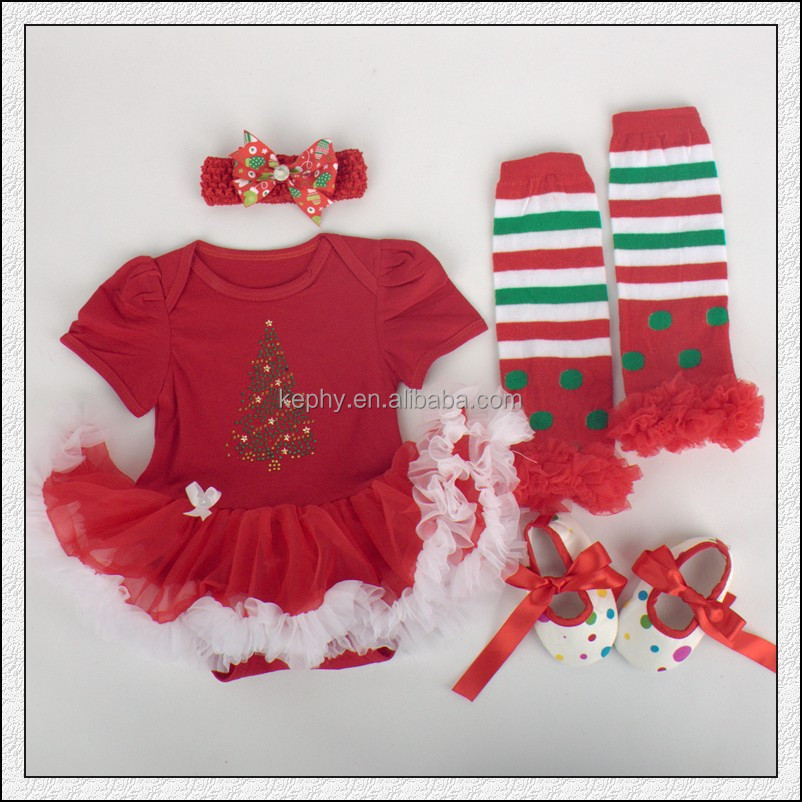 Baby Girls red christmas outfit Bodysuit Pettiskirt and Headband and shoes Set NB-12M with leg warmers 4pcs set