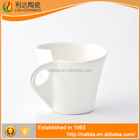 Straight line modern design wholesale customized logo white ceramic LD12048 solid color coffee mugs with high quality
