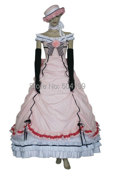 Female Adult Black Butler Cosplay Kuroshitsuji Ciel Phantomhive Costume Anime Pink Dress Halloween Costumes