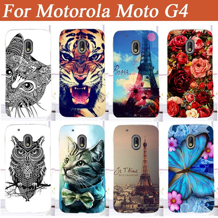 "Fashion Diy UV Painting Colored Tiger Owl Rose Eiffel Towers Case Cover For Motorola Moto G4 / Moto G4 Plus 5.5"" Cases Sheer Bag"