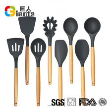 Non-Stick Innovative Design Silicone Kitchen Utensil Set With Wooden Handle For Sale