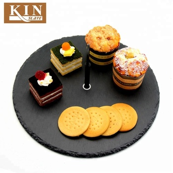 Cookie sale round black slate plate for kitchen