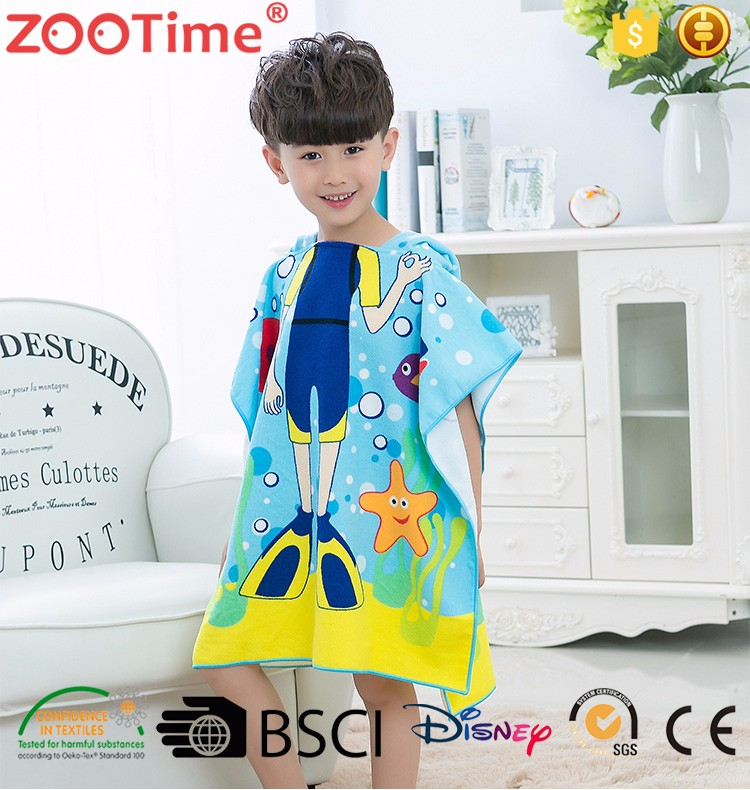 Cartoon Super Water Absorption Hooded Baby Beach Towel