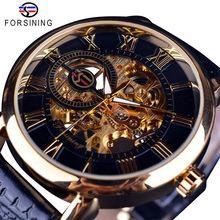 FORSINING Automatic Watch Casual Waterproof Leather Watches Men Wrist Luxury Skeleton Mechanical Mens Watch Relogio Masculino