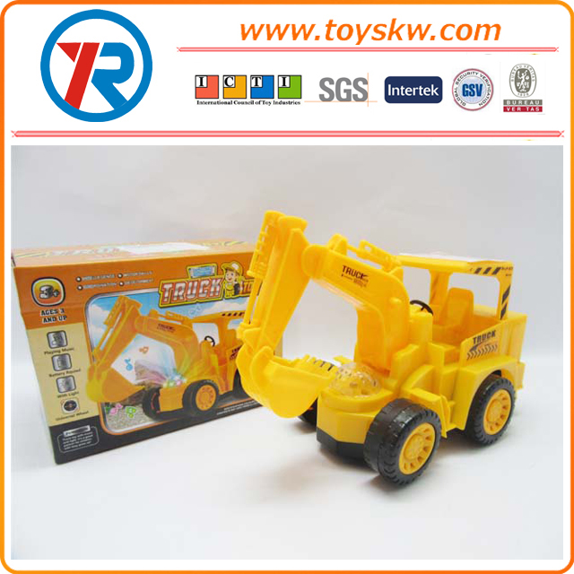 Cheap plastic electric toy car battery operated construction truck for kids with light and music for sale