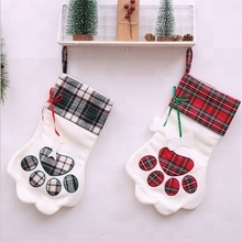 Wholesale Monogrammed Christmas Plaid Dog Christmas Paw Stocking