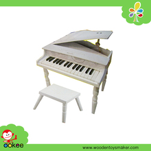Wooden 30 Keys Mini White Baby Grand Piano Musical Keyboard Toy