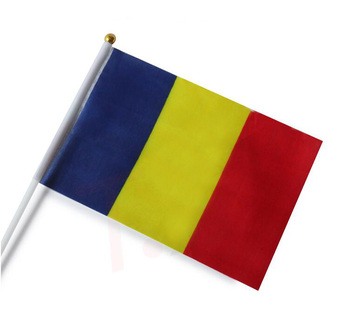 14*21CM Hand Held Country Blue Yellow Red Flag for Romania