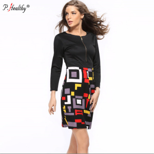 2018 women's high-end printing geometric splicing solid peter pan collar long sleeve pencil clothes women dress
