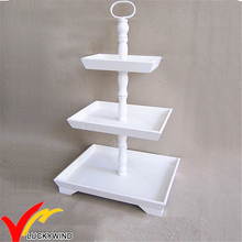 white antique vintage 3 tiers rectangular wood tray