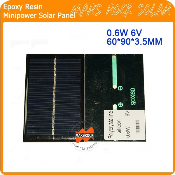 0.6W 6V 100mA 90*60mm Customized Epoxy Resin Solar Panel for toys, LED grow lights, garden light, charger