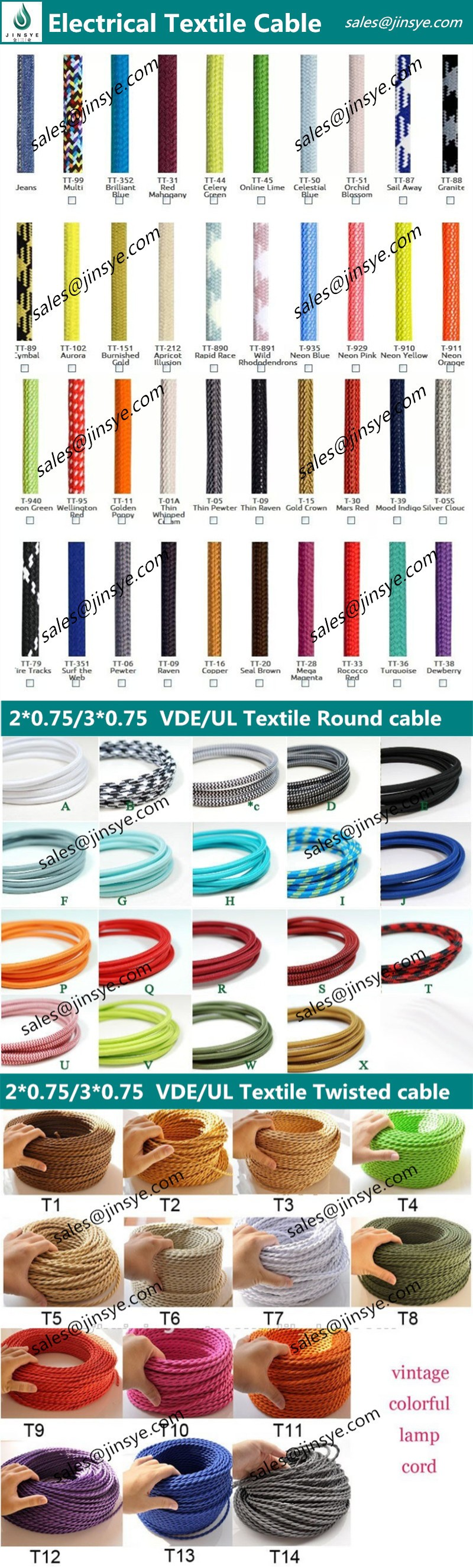 VDE/UL Certificated braided wire textile cable cotton cord copper electric fabric wire electrical cable