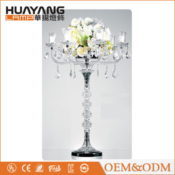 Hot selling with hanging crystal centerpieces tall glass crystal wedding candle holder