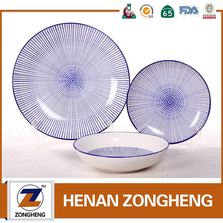 2017 hot selling 30pcs hand painted color stripes ceramic stoneware dinnerware