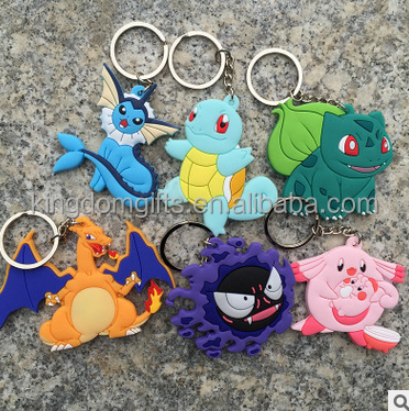 Soft PVC Pokemon keychains,Pokemon carton keyrings