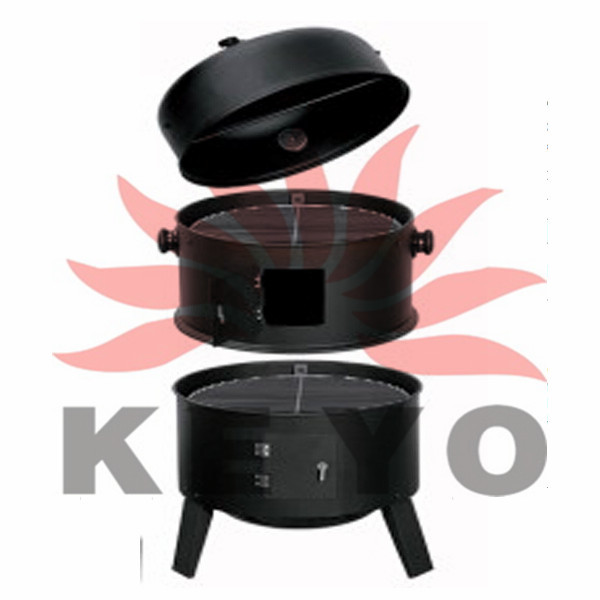 Bbq Wood Burning Stove Meat Smoker Charcoal Barbecue Fish Smoker Oven Grill KY8540