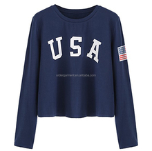 wholesale custom Sweaty Rocks cotton crop tops print USA letters long sleeve crop top t shirt