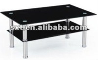 Retanglar Glass Coffee Table With Stainless Steel