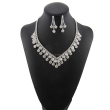 Blanco natural de cristal wedding jewelry sets nupcial <span class=keywords><strong>joyería</strong></span> del rhinestone aretes collar de la bola