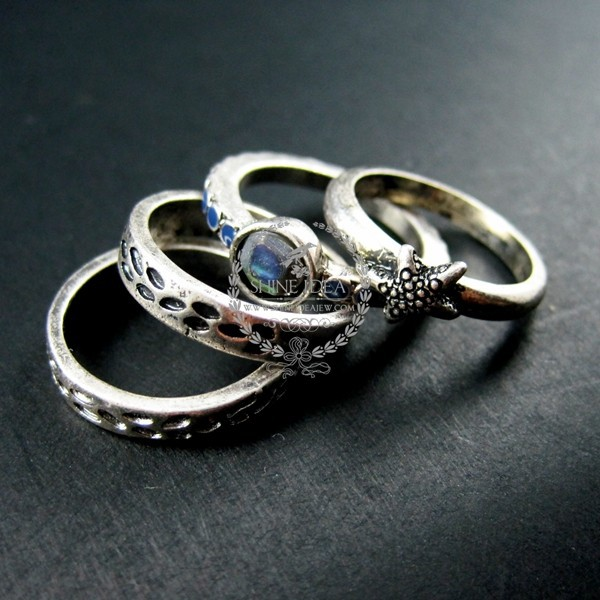 ocean sea star antiqued silver vintage fashion chic ring set jewelry 6240002