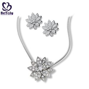 Flower jewellery cz fashion silver earring necklace set