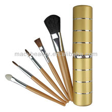 5pcs OEM makeup brushes with cylinder metal case
