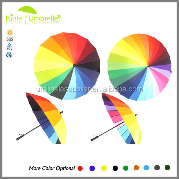 Honsen wooden shaft&handle straight umbrella/with metal brand on handle rainbow umbrella colorful umbrella