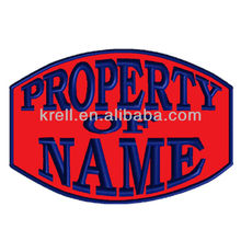 Custom Embroidered Rocker Name Patch Rectangle Biker Iron on Property Of