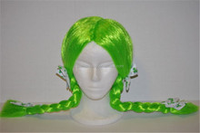 St. Patrick's Day Green Costume Pigtail Wig with Clover Leaf Bows