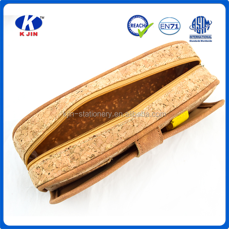 New material products cool cork wood pencil bag pencil case