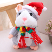 New Christmas gift electronic Plush stuffed animals plush toy Voice Sound Record Repeat Mouse Toys talking hamster