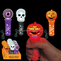 Halloween Kids Plastic LED Flashing Light Toy ghost pumpkin skull heads led lights toy with Lanyard wholesale