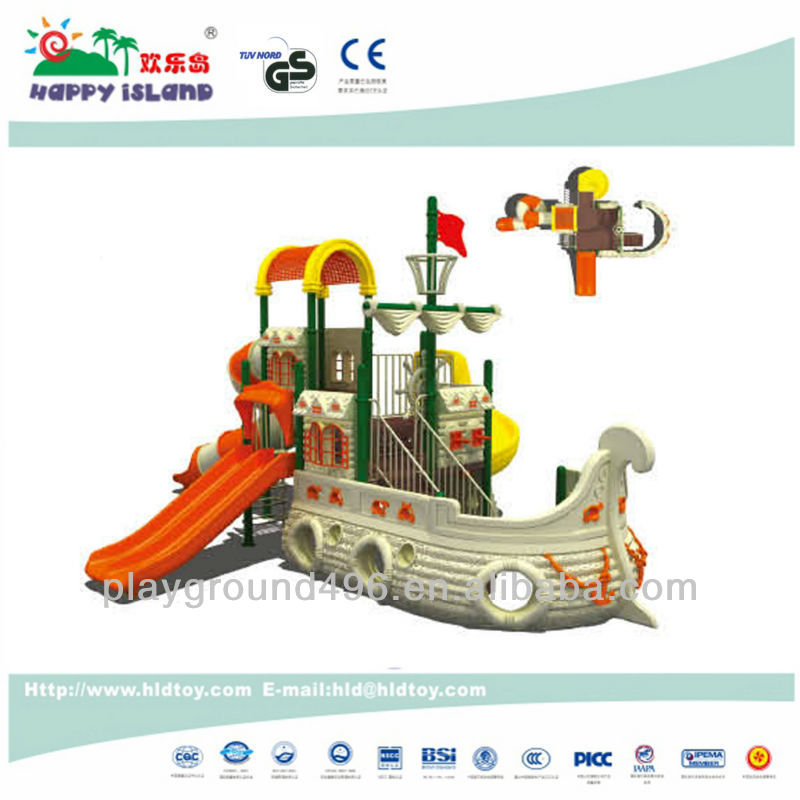 Good quality plastic toy pirate ship playground