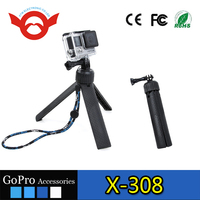 New wholesale portable rotatable monopod go pro camera tripod mount with strap and screw for gopro hero 5 4 3+ 3
