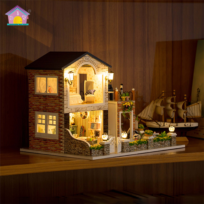 Cute Mini Diy Dollhouse Wooden Miniature Houses Toys For Kids