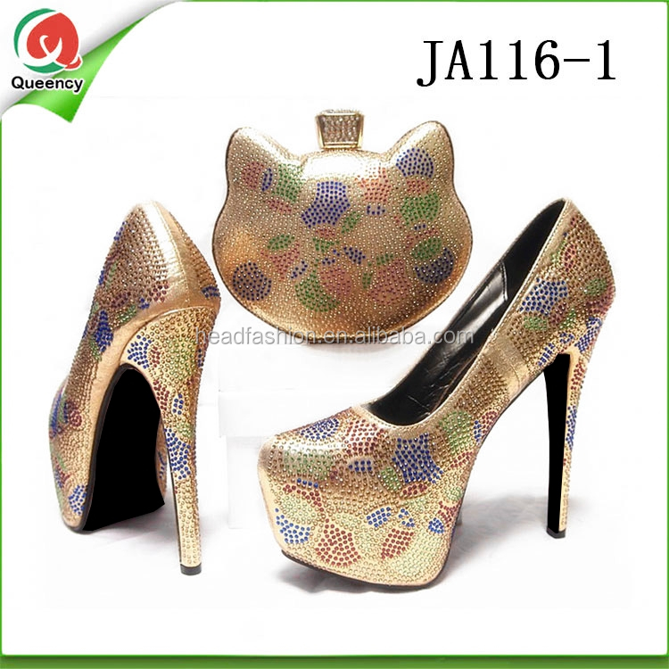 JA116 Queency Unique Design Cute Kitty Shape Nigerian Matching Bag and High Heel Shoes for Wedding and Party