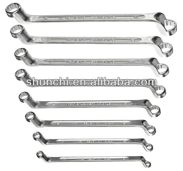 Offset Double Ended Ring Spanner Set, 8 Pieces