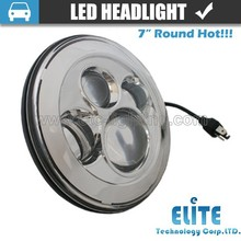 New arrival silver 7 inch Round Led Headlight Assembly for jeep tyre Off Road