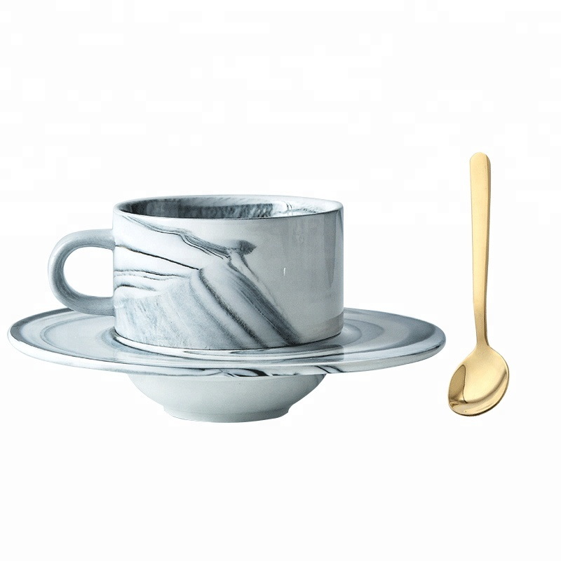 Marble ceramic coffee <strong>cup</strong> and Saucer Set European style luxury gold creative home afternoon tea set lovers <strong>cup</strong>