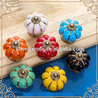 7pcs Multicolor Candy Color Baby Kid's Children's Furniture Drawer Handles Decorative Pumpkin Ceramic Door Cabinet Drawer Knobs