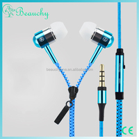 Consumer electronics colorful Earphone headphone with Microphone bass response alibaba online sell zipper headphone