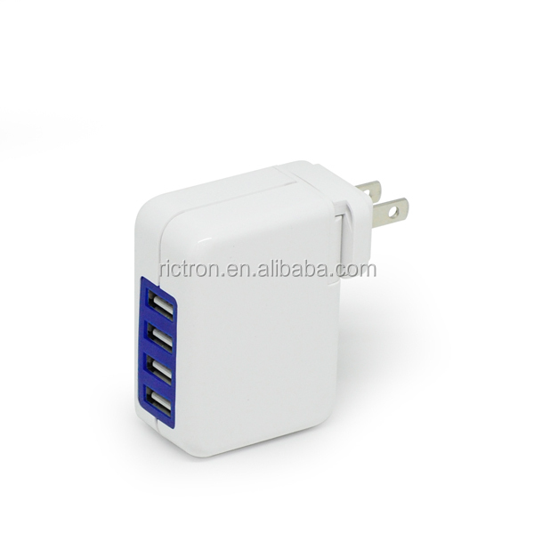 Best quality wall charger with 4 usb port with changeable plugs (RC662)