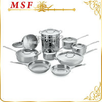 Surgical 18 10 stainless steel cookware set 17pcs cooking pot popular in Europe with pasta pot & steamer MSF-L3112