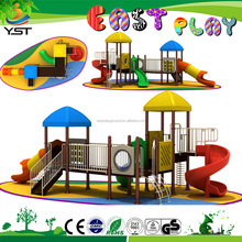 Children colorful plastic play house combo slide plastic toy for outdoor garden