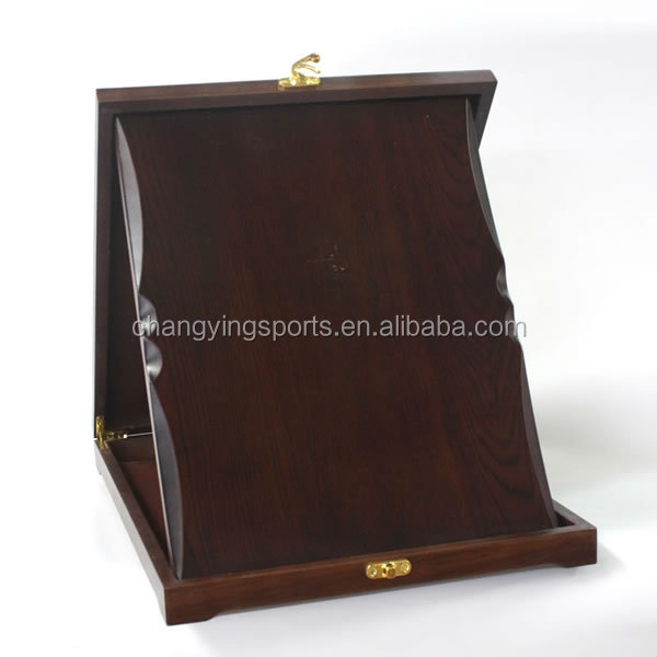 WOOD MDF TROPHY WITH WOOD BOX WINE RED COLOR
